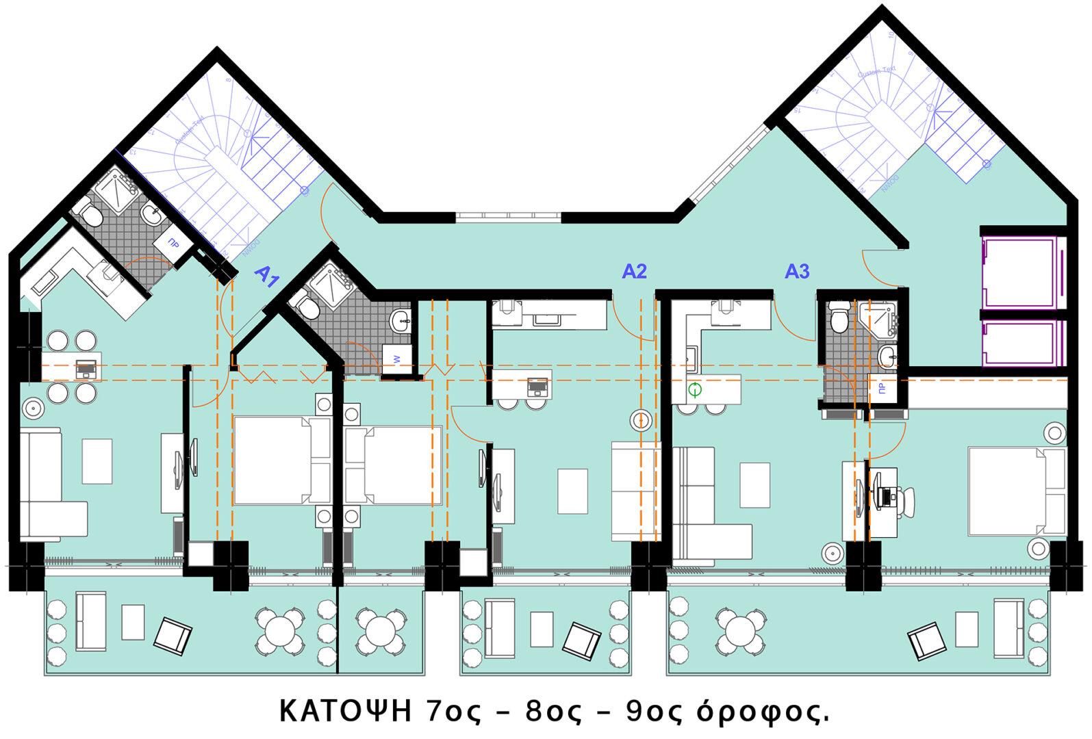 Κάτοψη (7ος - 8ος - 9ος) όροφος
